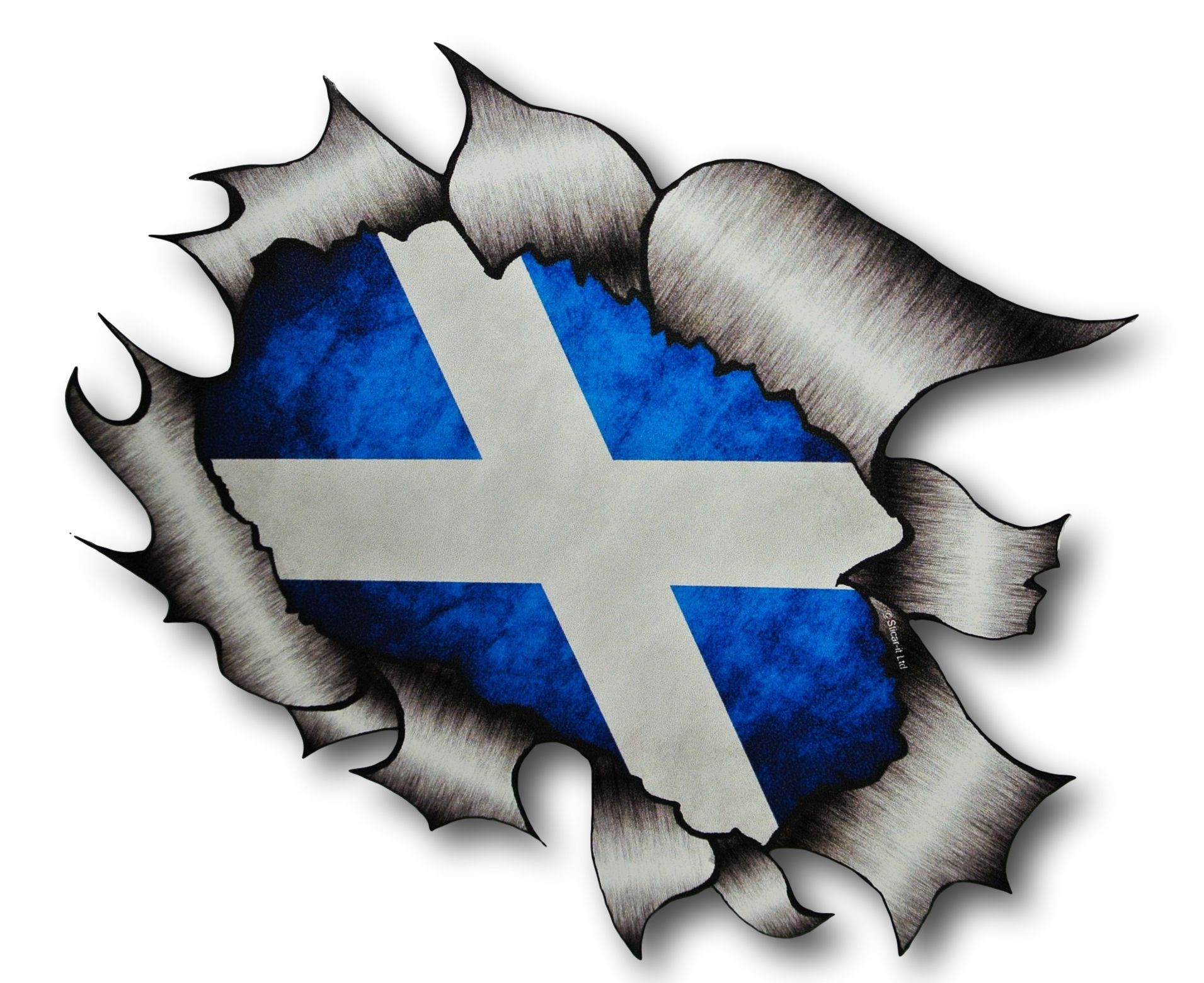 a4 size ripped torn metal design with scotland scottish saltire