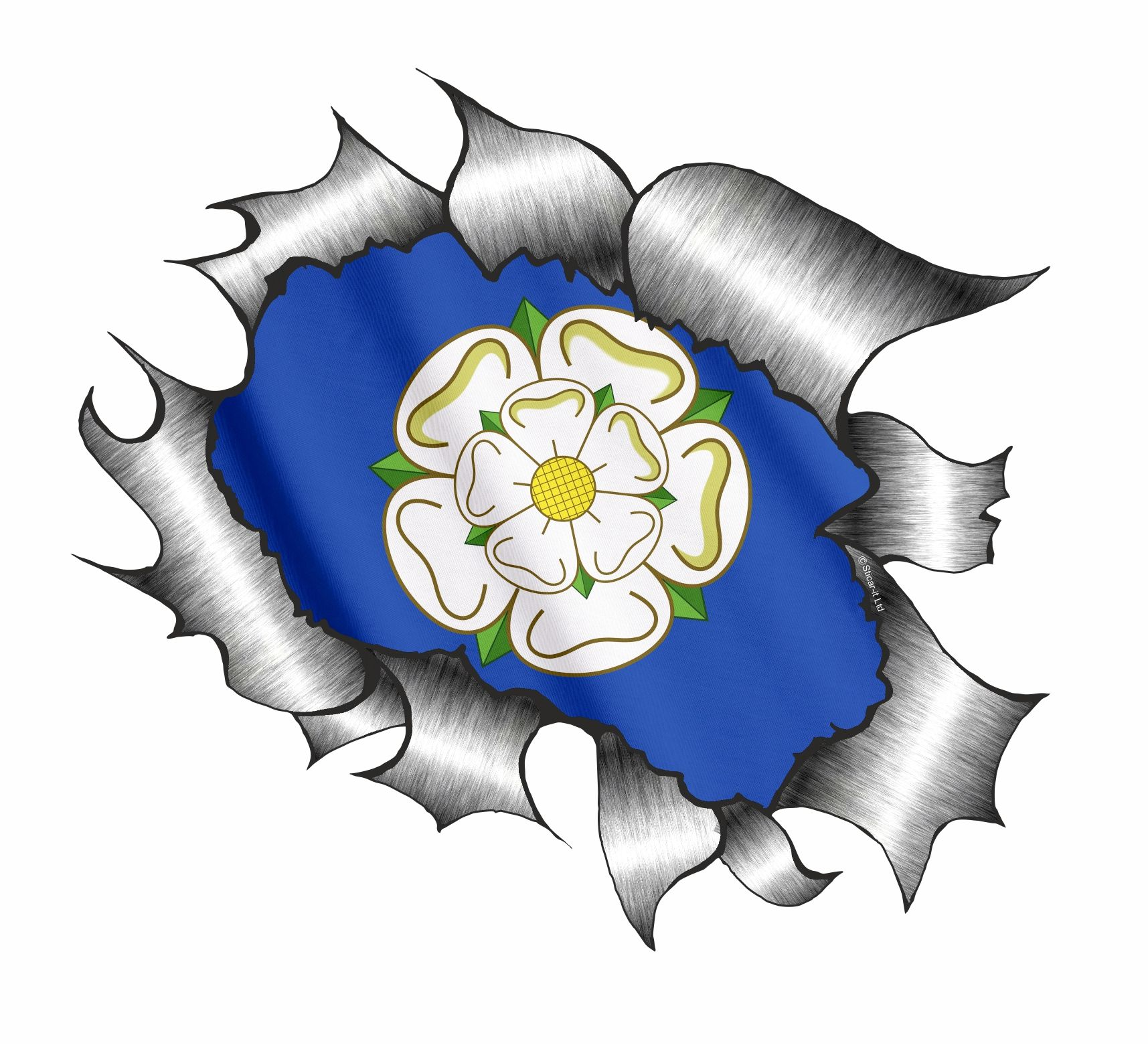 Case Design printed phone case A4 Size Ripped Torn Metal Design With Yorkshire Rose County Flag Motif ...