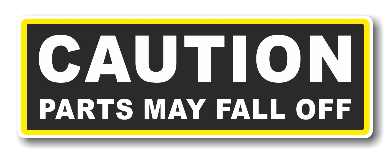 Car bumper sticker designs - Funny Caution Parts May Fall Off Slogan With Retro Style Novelty Bumper Sticker Design Vinyl Car Sticker Decal 175x60mm