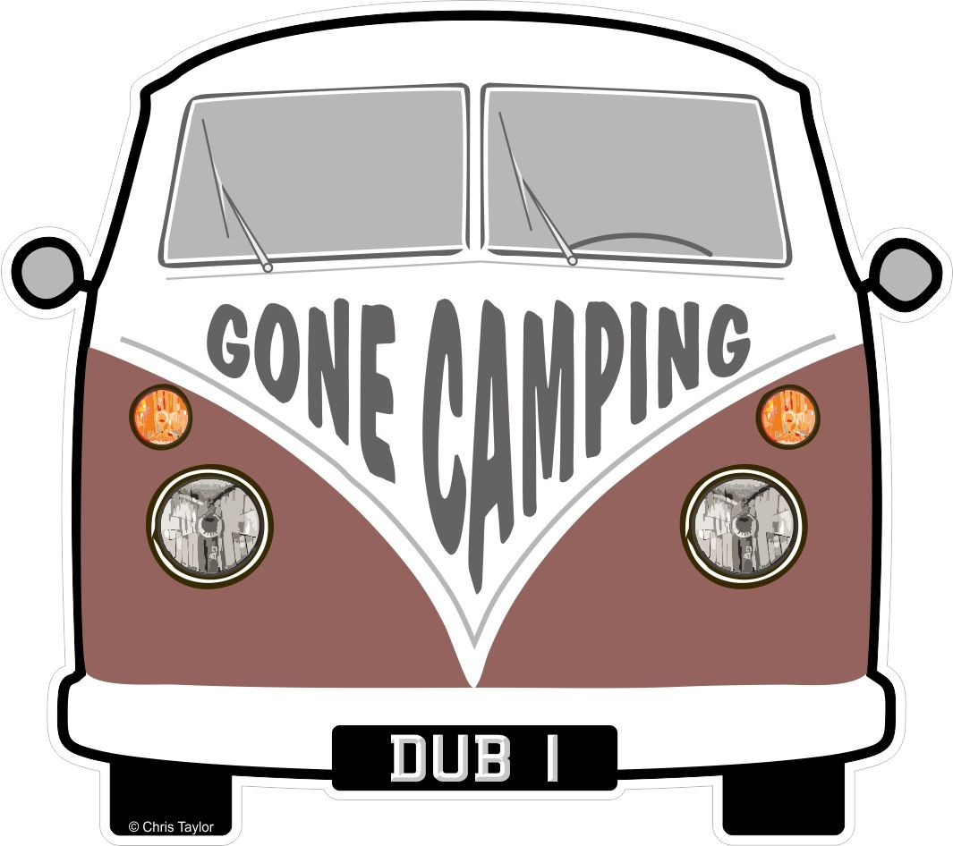 Gone Camping Slogan For Retro Split Screen Vw Camper Van