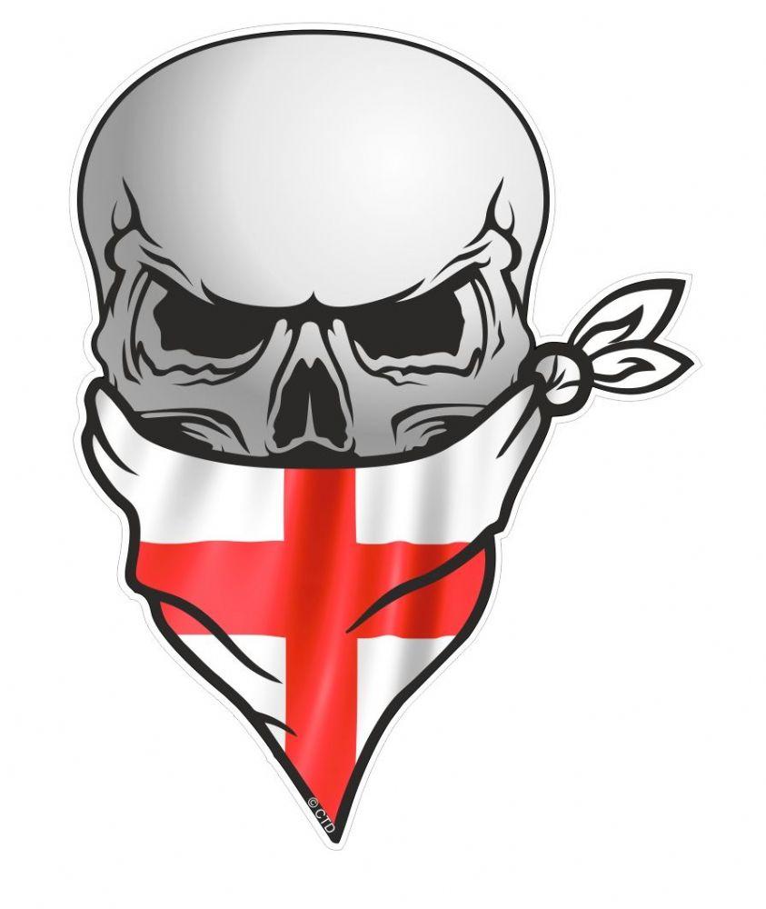 gothic biker pirate skull with face bandana st georges cross england flag motif external vinyl. Black Bedroom Furniture Sets. Home Design Ideas