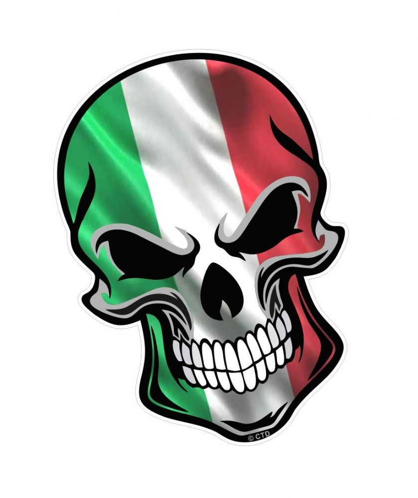 gothic biker skull italy italian il tricolore flag with. Black Bedroom Furniture Sets. Home Design Ideas