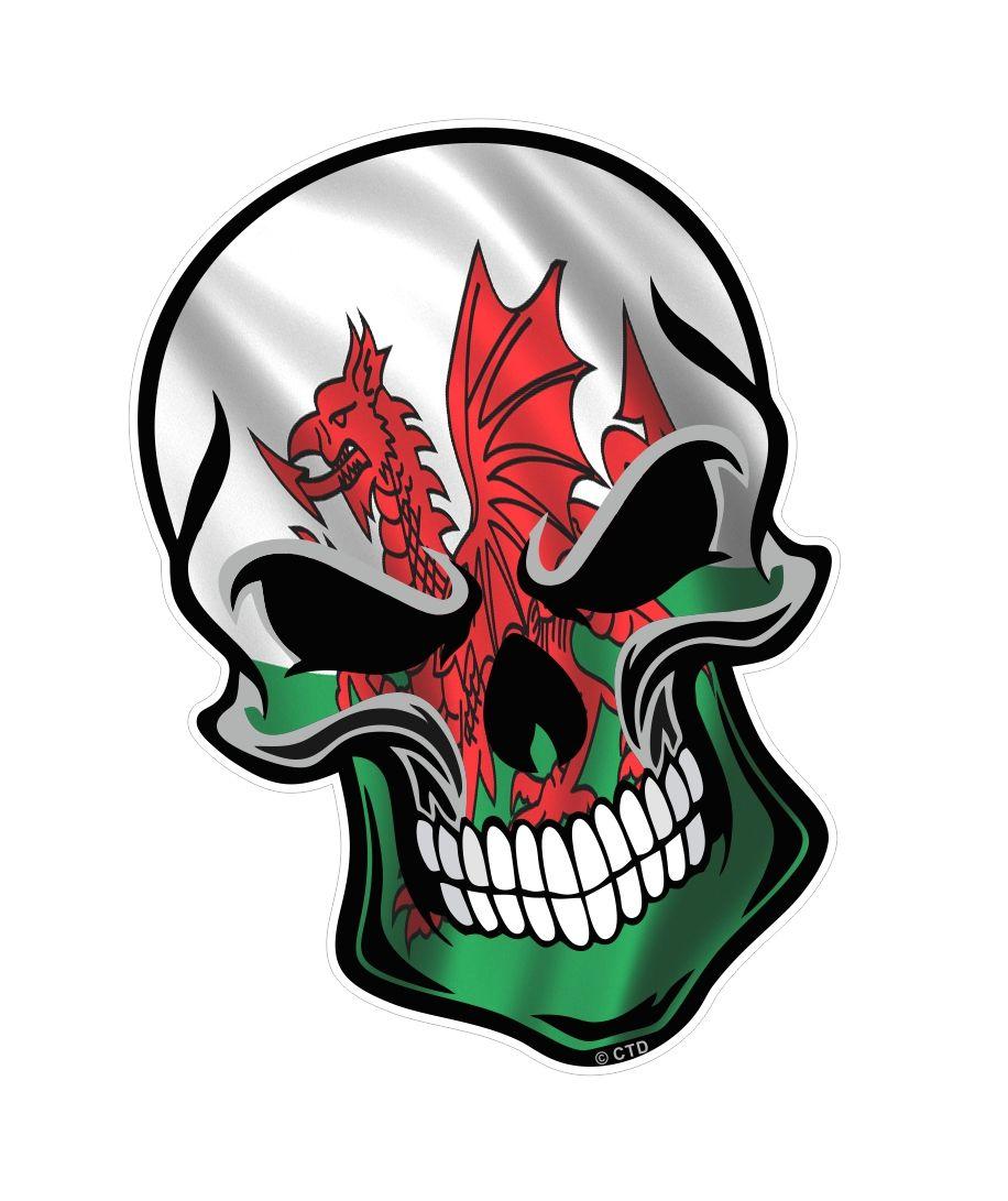GOTHIC BIKER SKULL With Welsh Dragon Wales CYMRU Flag ...