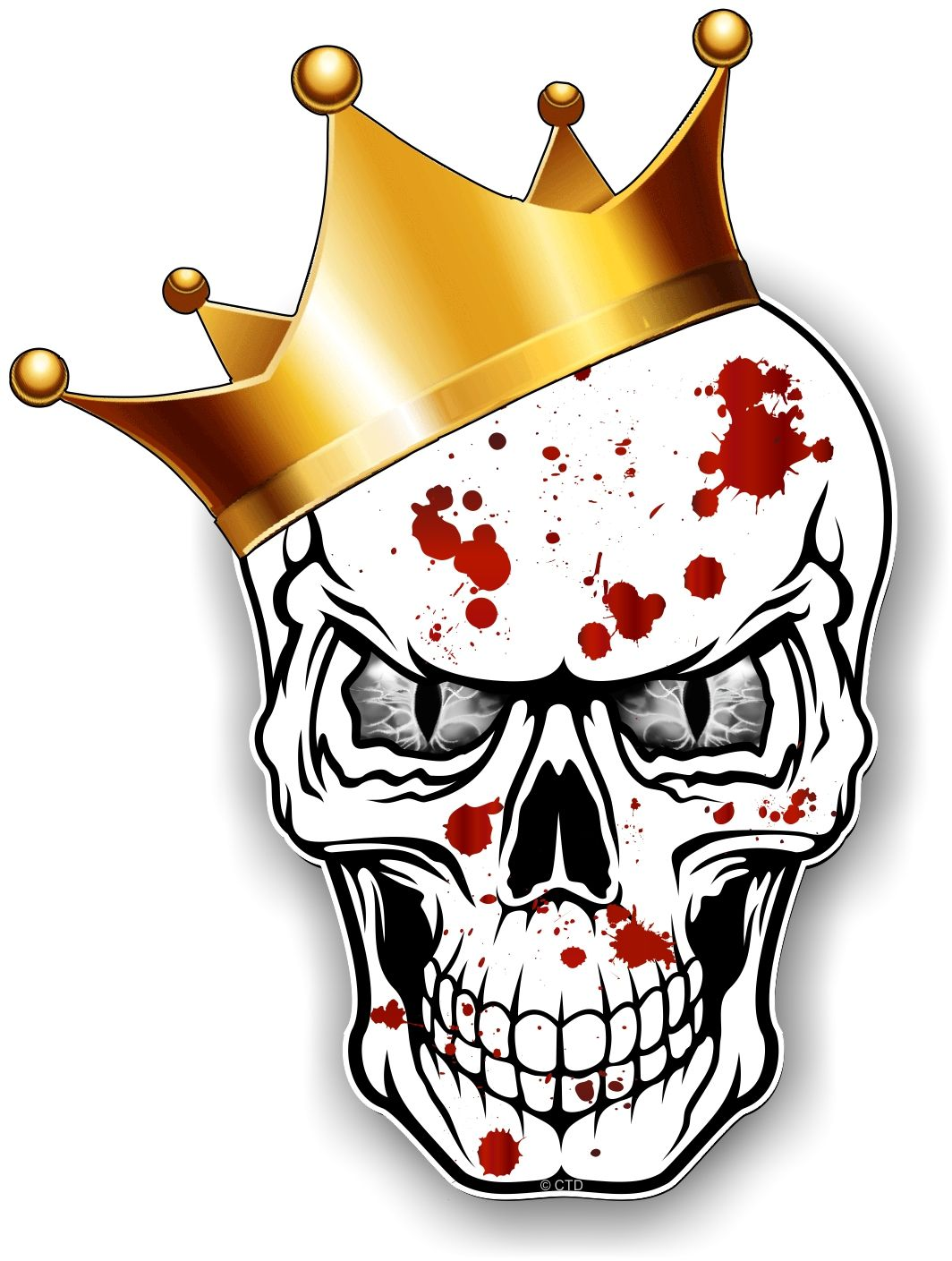 Gothic King Of Skull Skulls With Grey Evil Eyes And Crown