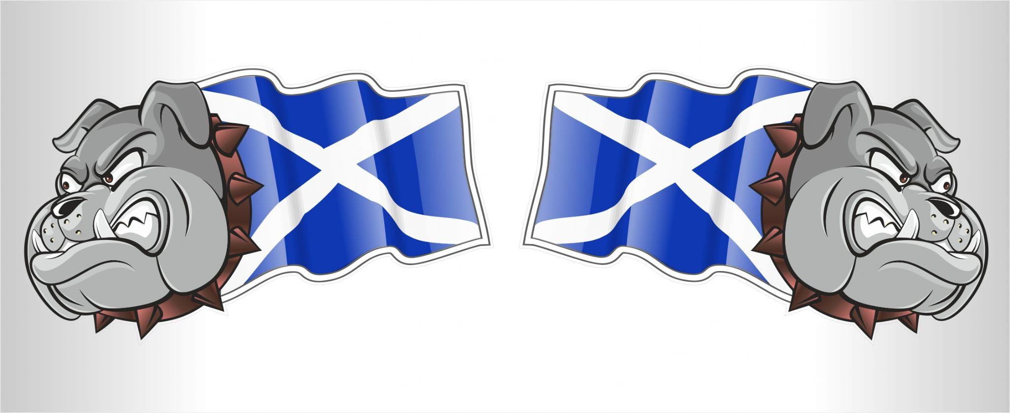handed pair of scotland scottish saltire flag bulldog mascot vinyl