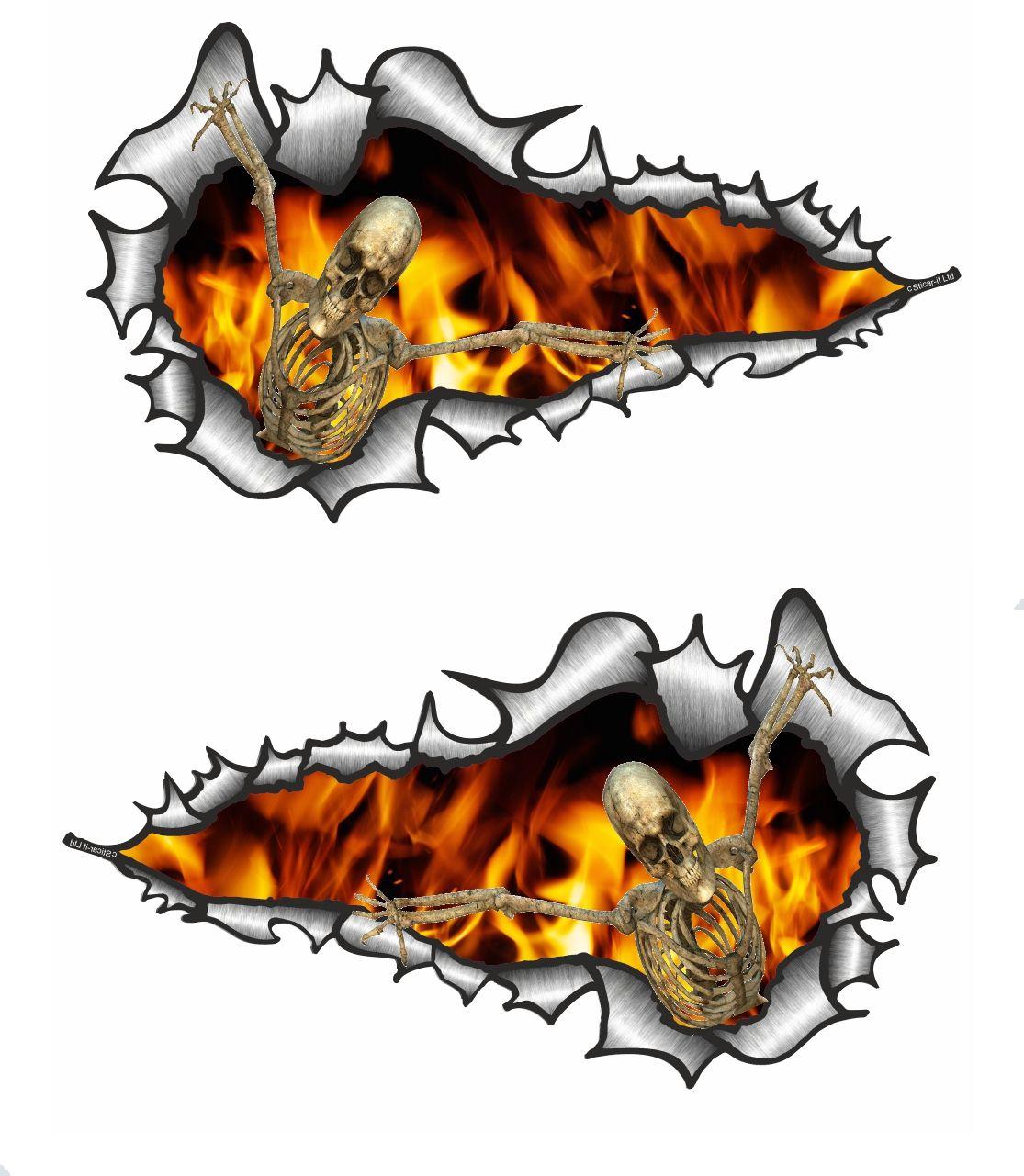 Car sticker design fire - Long Pair Ripped Torn Metal Design With Skeleton On Fire Motif External Vinyl Car Sticker 120x70mm Each