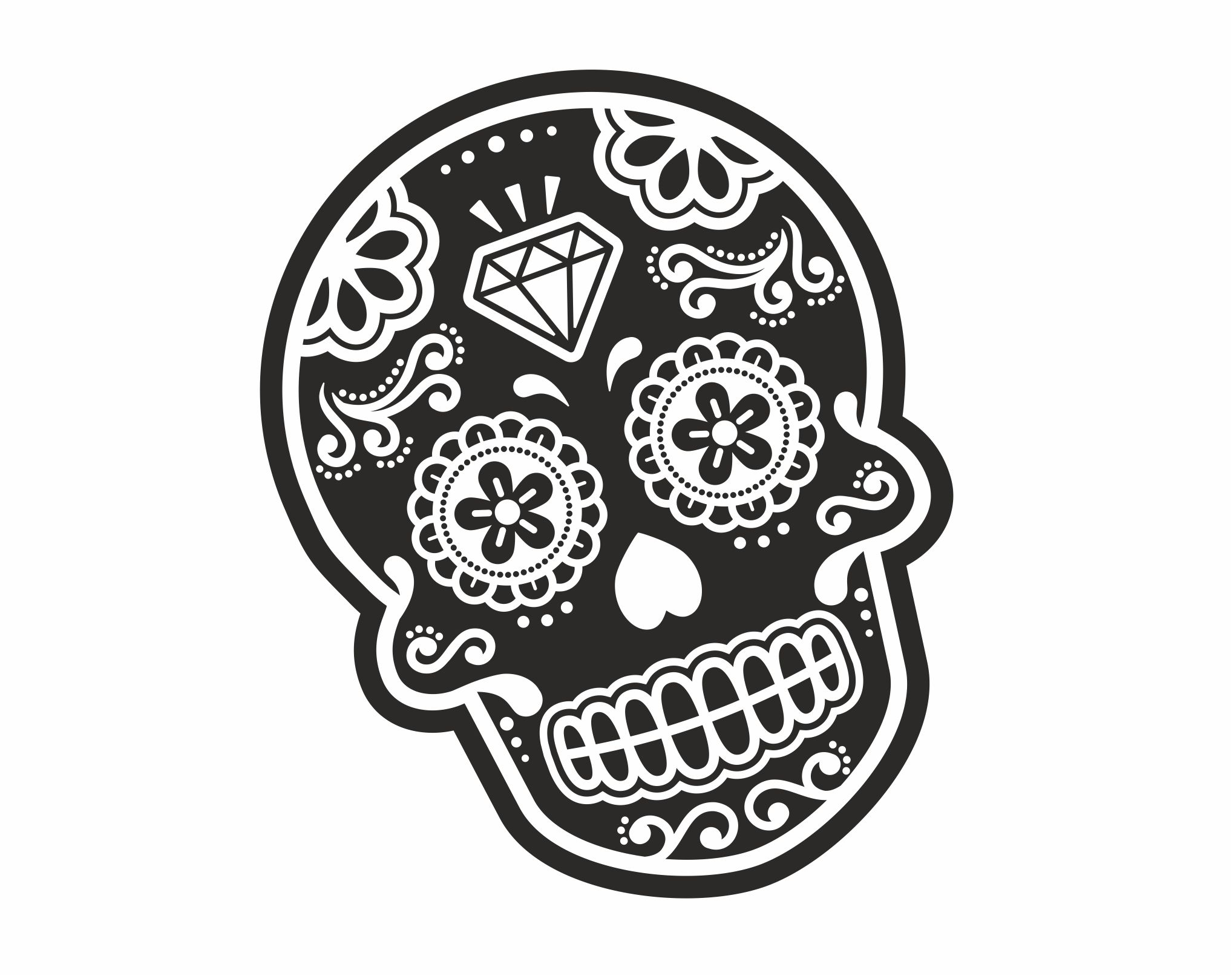 Mexican Day Of The Dead SUGAR SKULL Black & White With ...