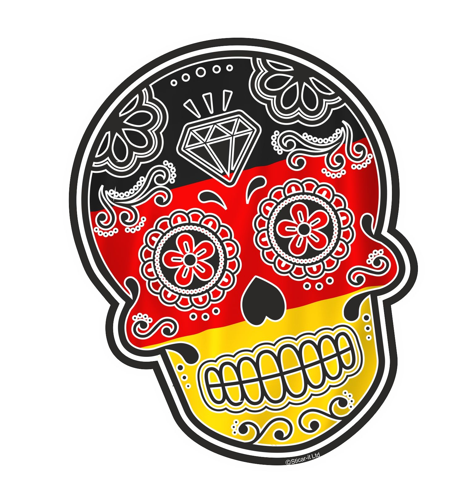 Sticker For Glass Wall Mexican Day Of The Dead Sugar Skull Motif With Germany