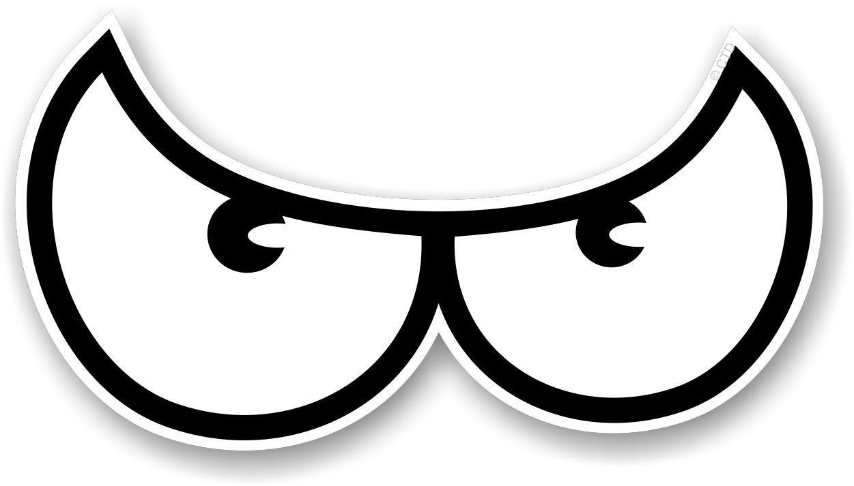 Muscle Car Decals >> Pair Of Cartoon Angry Evil Eye Eyes Design In Black & White For Motorbike Biker Helmet Car ...