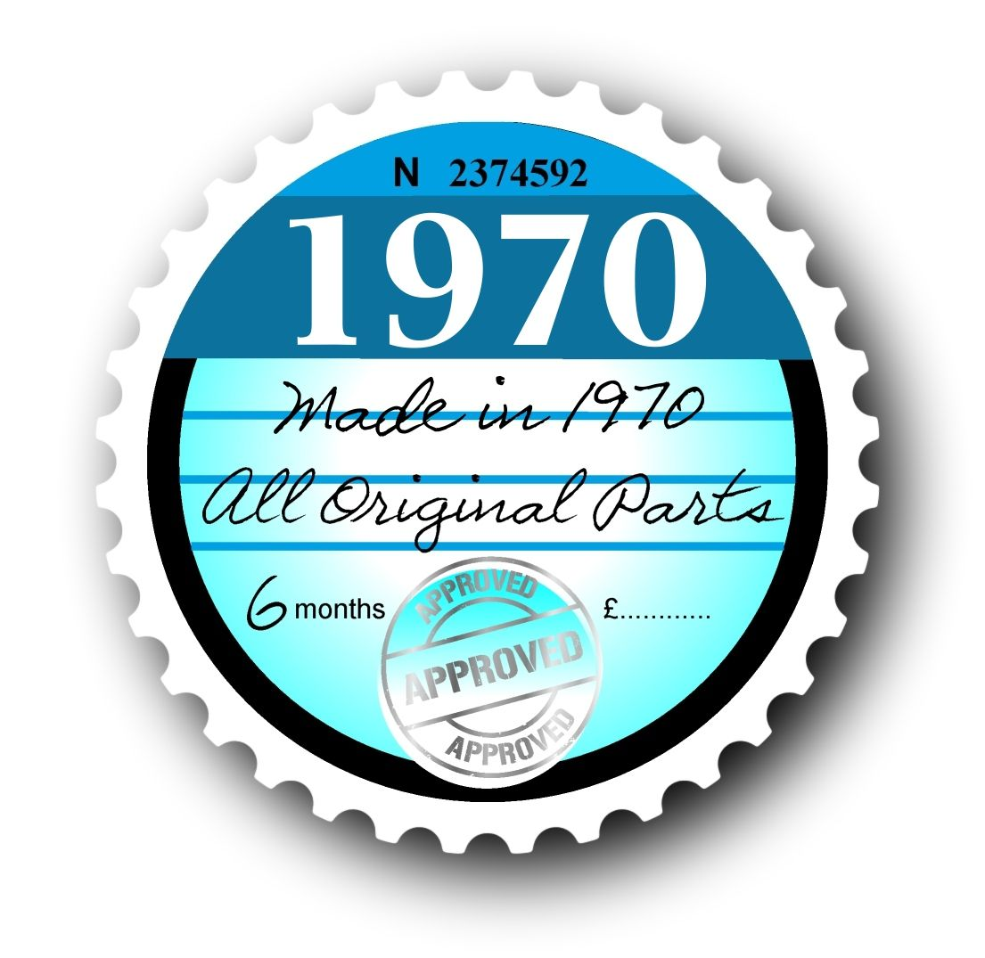 Retro 1970 Tax Disc Replacement Design For Classic Vintage