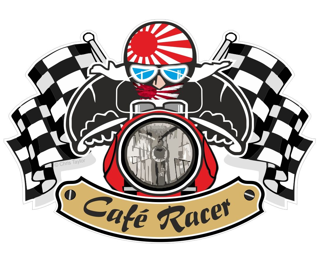 Design a bike sticker - Retro Cafe Racer Ton Up Club Design With Rising Sun Flag Motif For Japanese Bike External Vinyl Sticker 90x65mm
