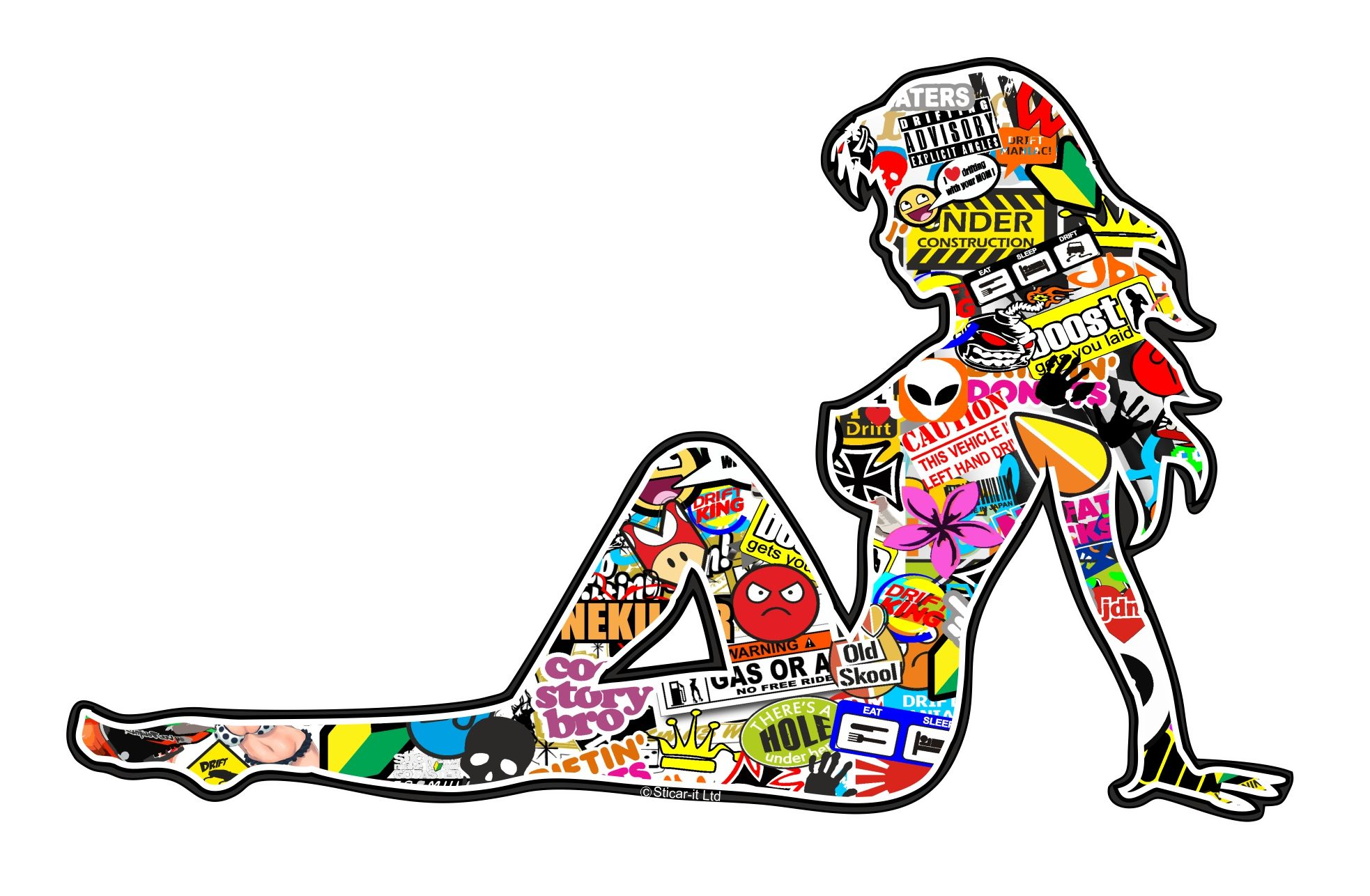 Muscle Car Decals >> Retro Sexy Pin UP Pinup Girl with Multi Colour JDM Drift Style Sticker bomb Motif Vinyl Car Bike ...