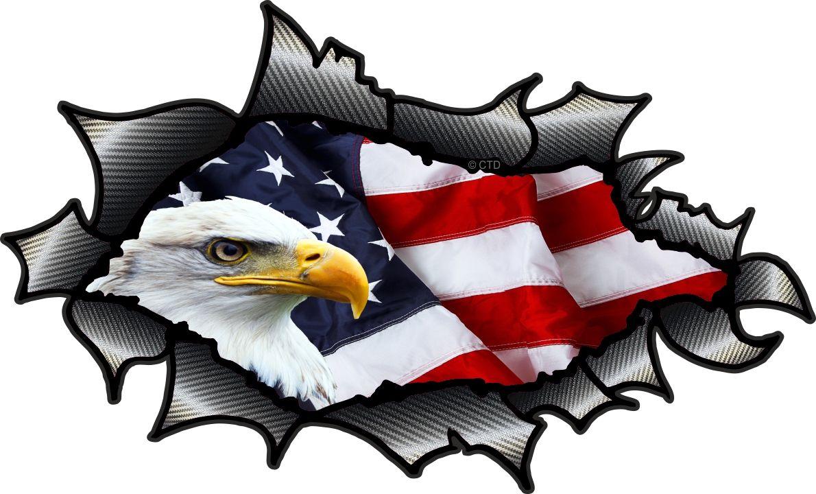 Car sticker eagle - Ripped Torn Carbon Fibre Fiber Design With American Bald Eagle Us Flag Motif External Vinyl Car Sticker 150x90mm