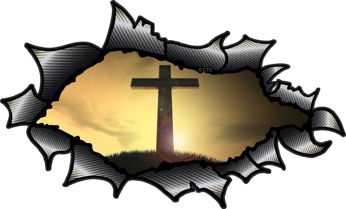 Car carbon sticker design - Ripped Torn Carbon Fibre Fiber Design With Religeous Christian Cross Crucifix Motif External Vinyl Car Sticker 150x90mm