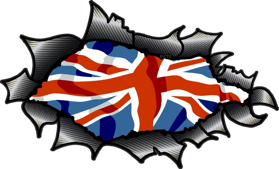 Car sticker designs images - Ripped Torn Carbon Fibre Fiber Design With Union Jack British Flag Motif External Vinyl Car Sticker 150x90mm