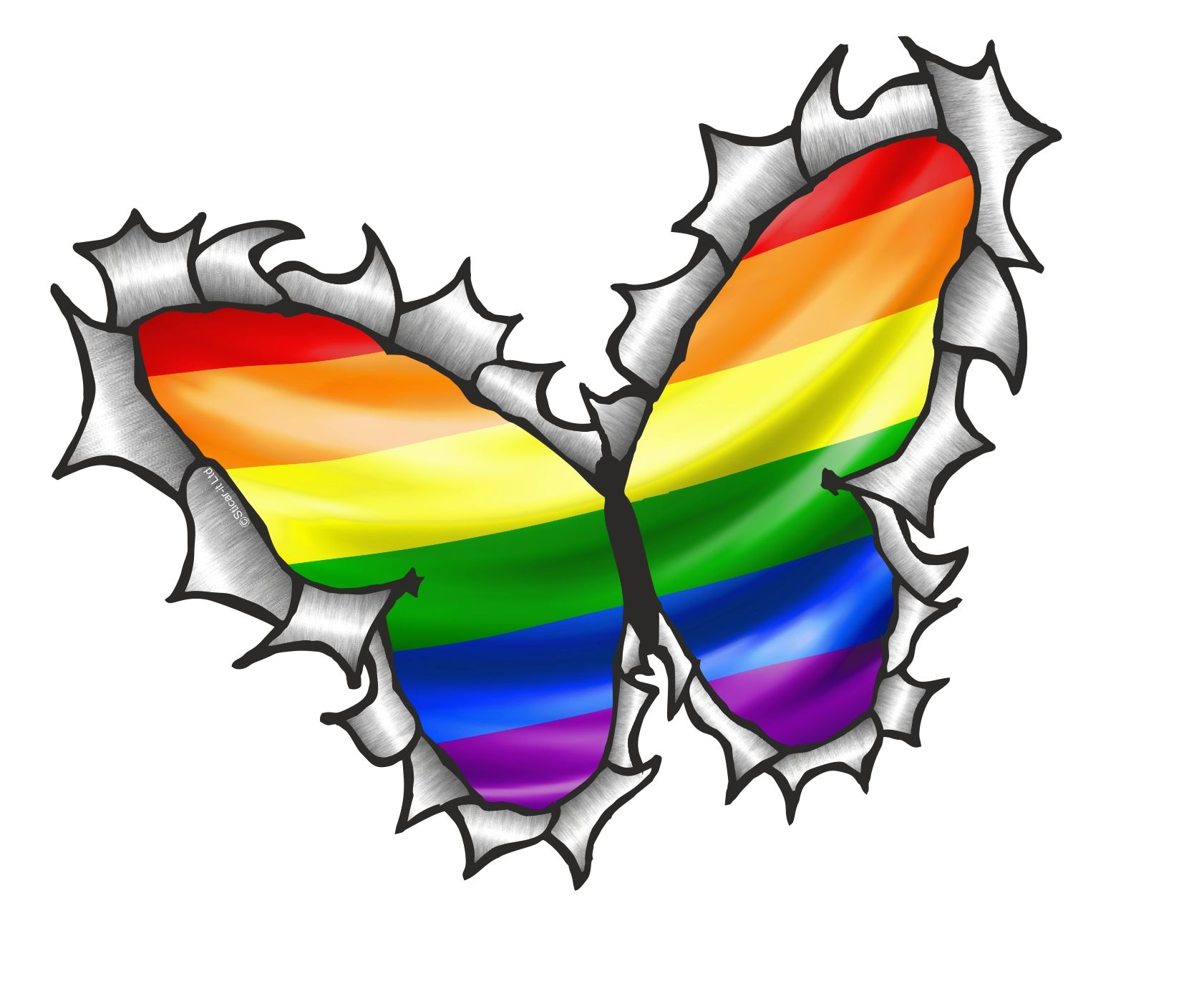 Vinyl Sticker Wall Ripped Torn Metal Butterfly Design With Gay Pride Lgbt