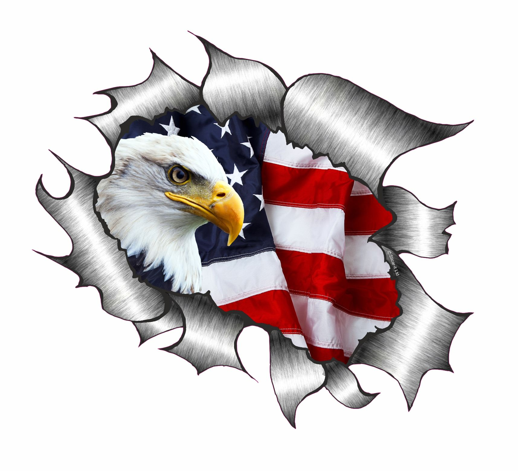 Ripped Torn Metal Design With American Bald Eagle Amp Us