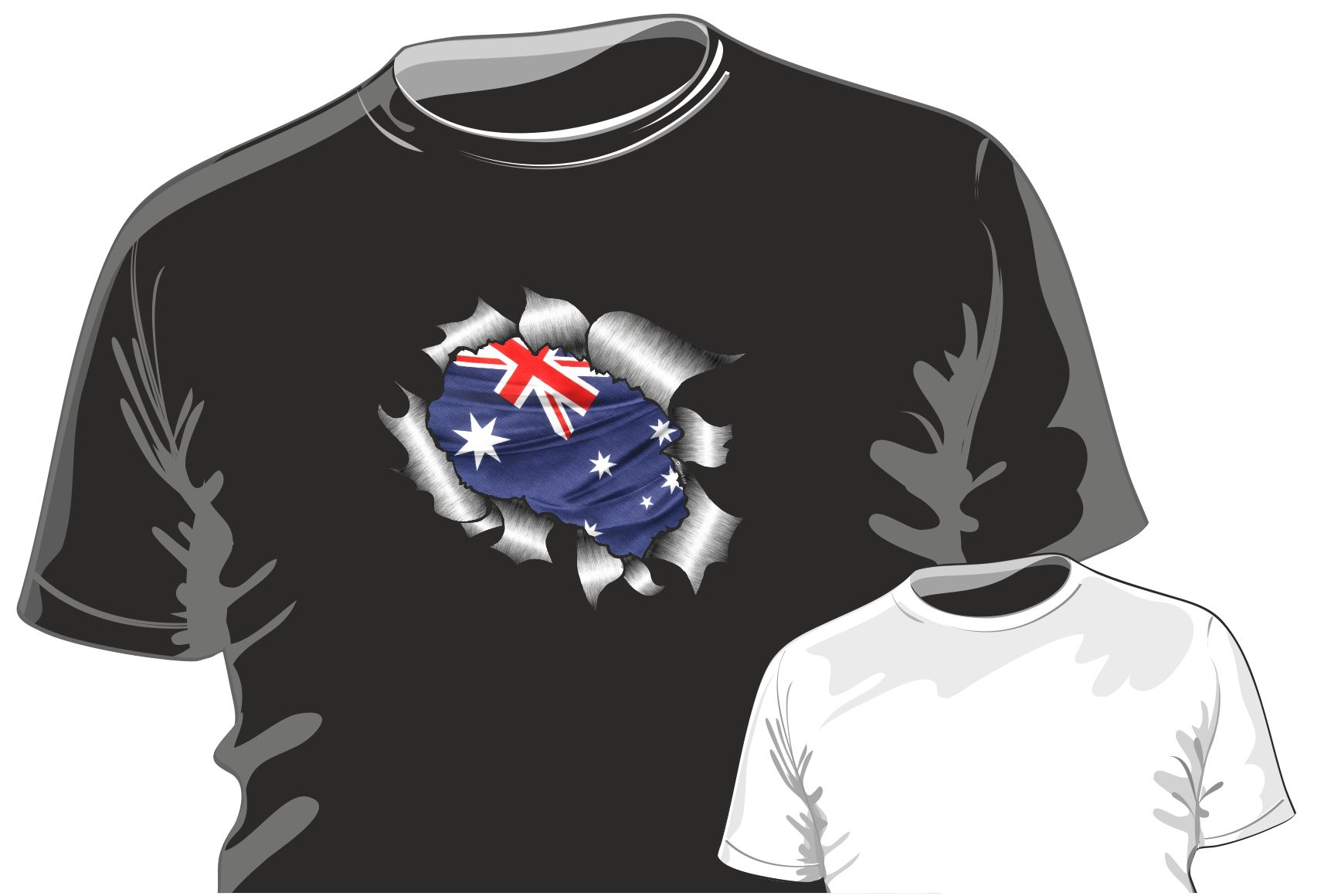 Shirt design australia - Ripped Torn Metal Design With Australia Australian Flag Motif Mens Or Ladyfit T Shirt