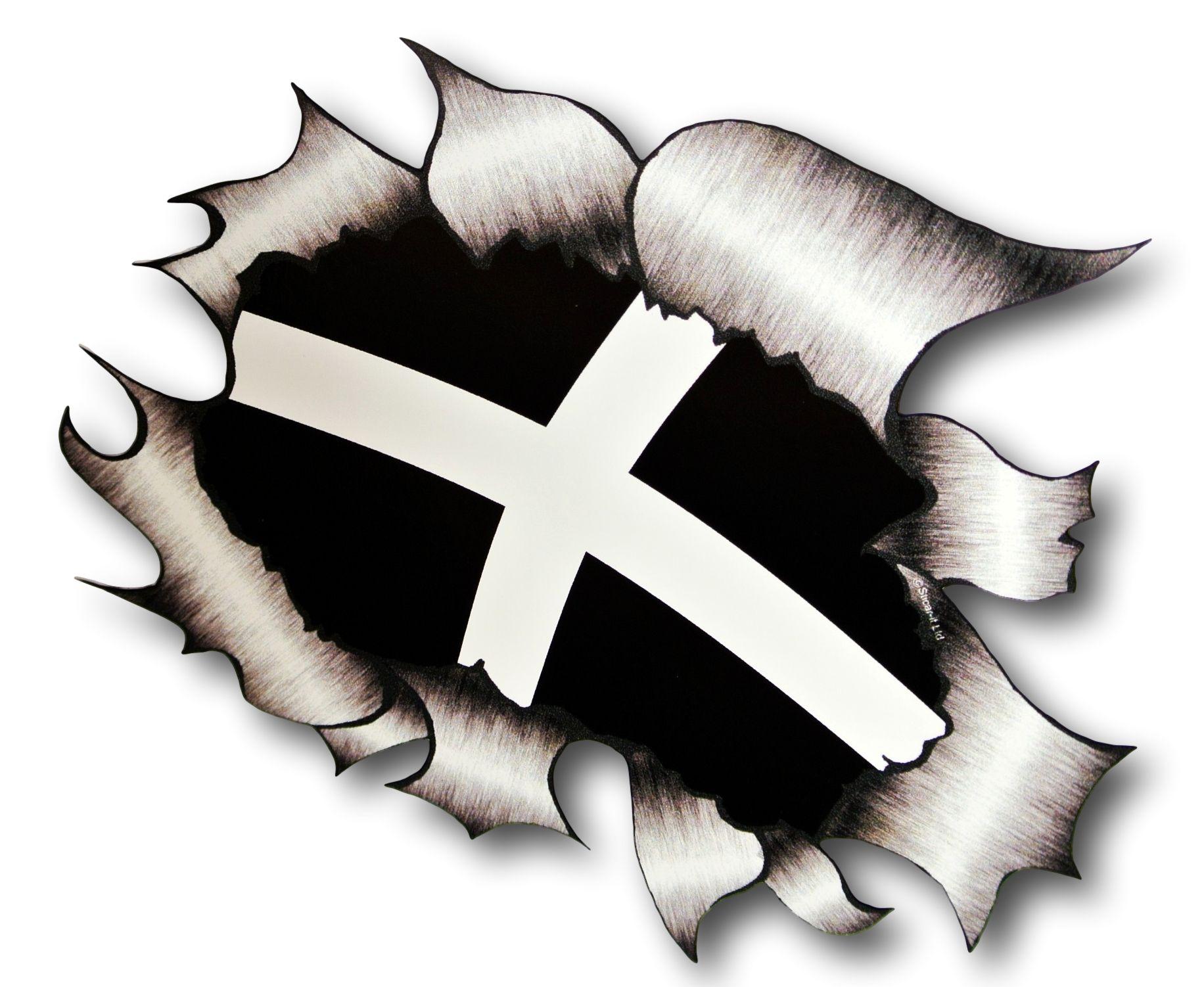Ripped Torn Metal Design With Cornwall Cornish Flag Motif