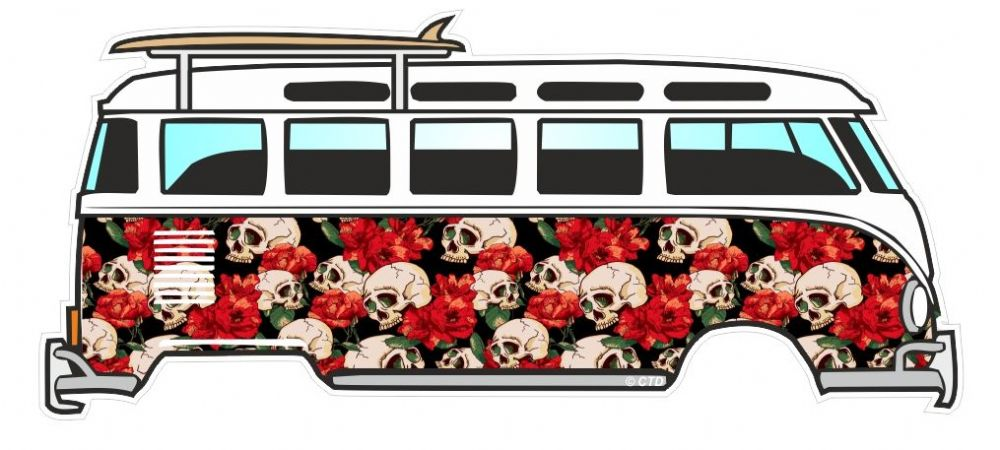 tattoo style skull red roses design for retro vw split screen camper van bus graphic external. Black Bedroom Furniture Sets. Home Design Ideas