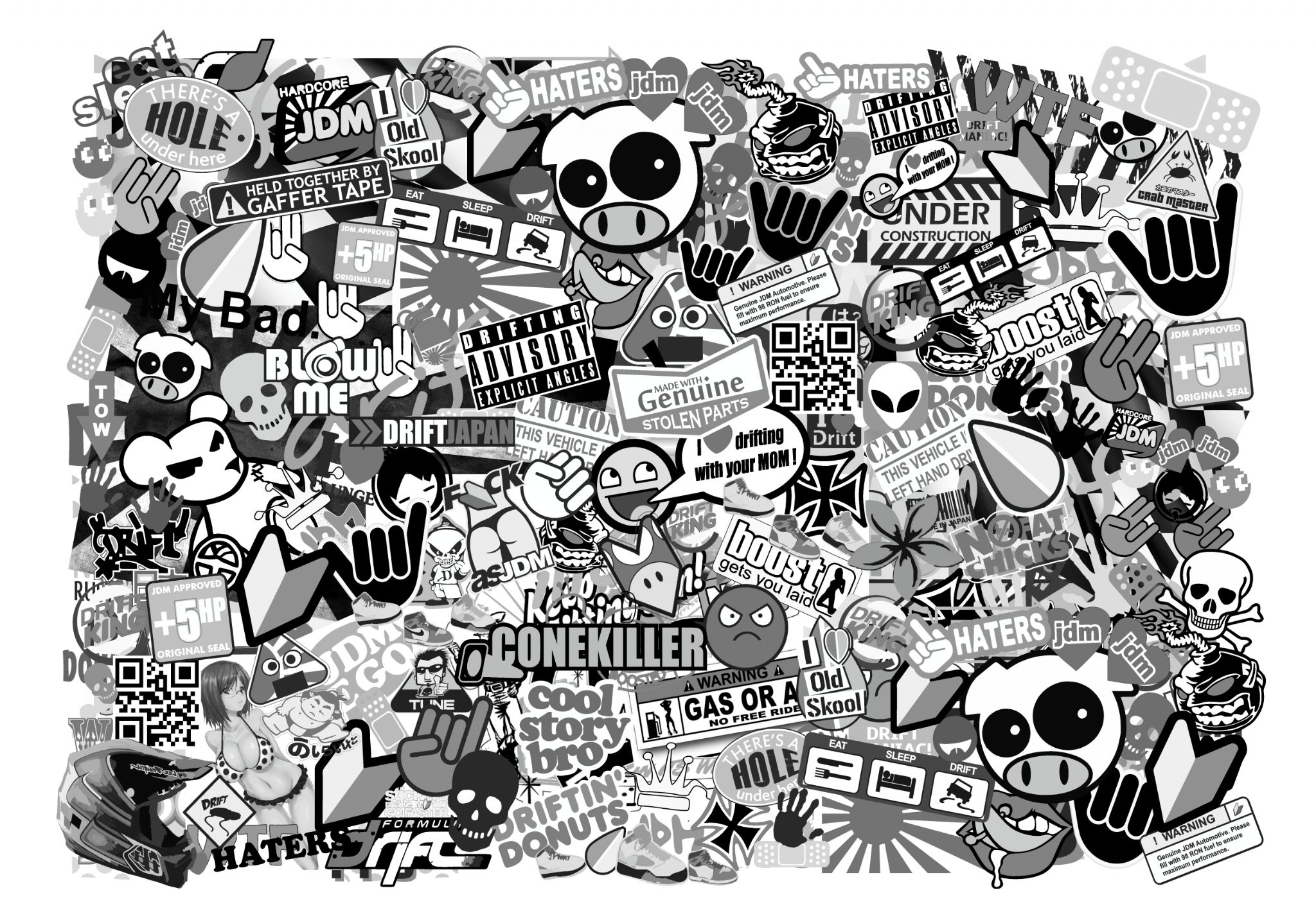 A4 size landscape format with black white jdm drift style icons premium quality vinyl car sticker bombing sheet