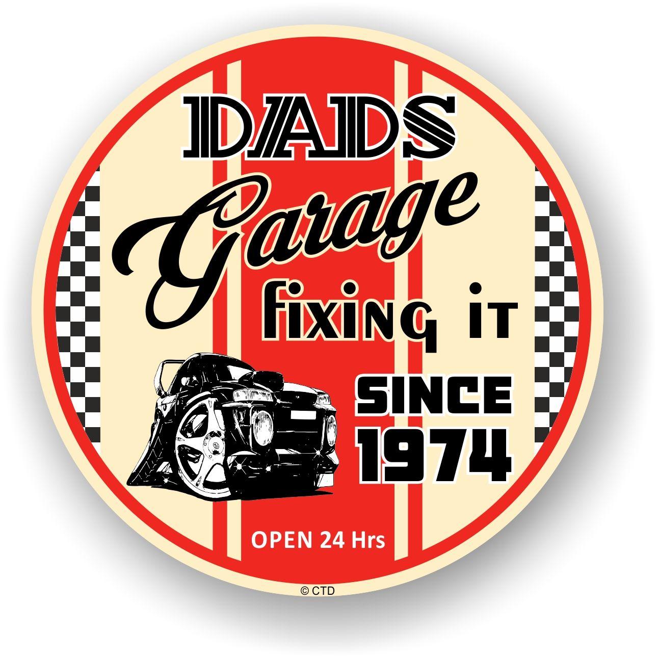 Dad S Garage Roundel Design Year Dated 1974 Vinyl Car