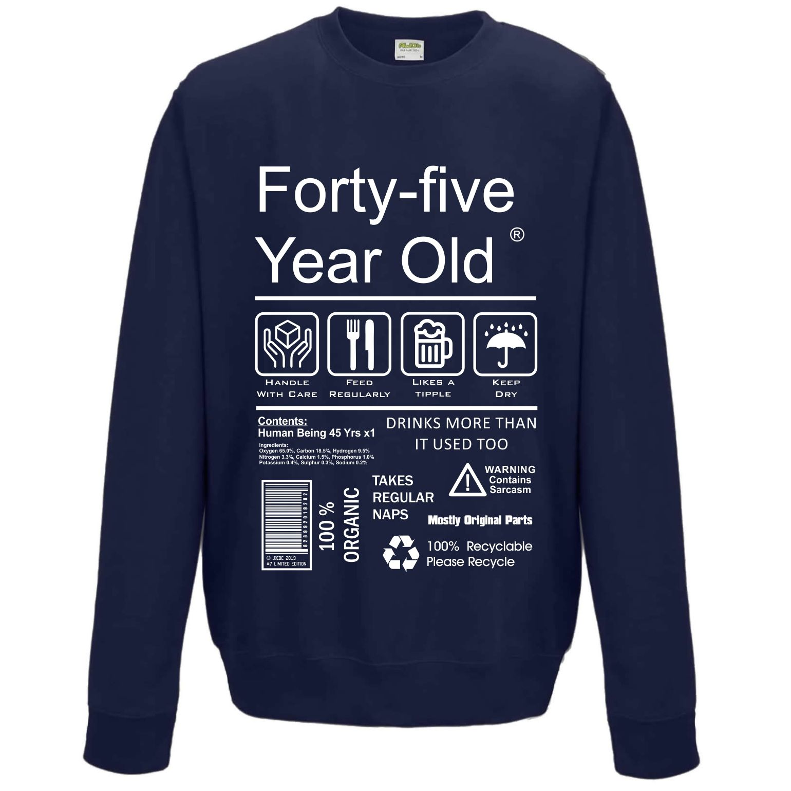 Funny 45 Year Old Package Care Label Instructions Motif 45th Birthday Gift Men S Sweatshirt Jumper