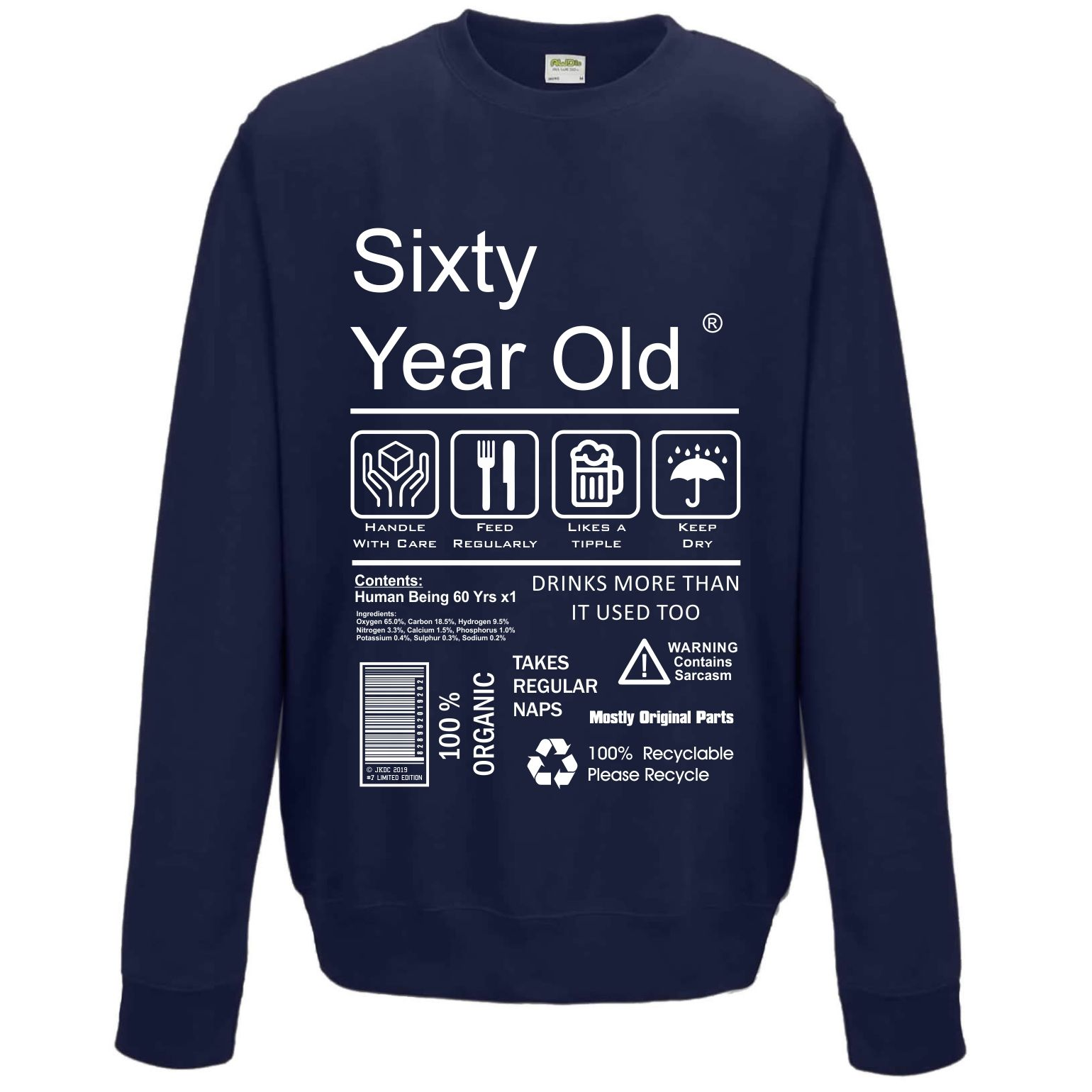 Funny 60 Year Old Package Care Label Instructions Motif 60th Birthday Gift Men S Sweatshirt Jumper