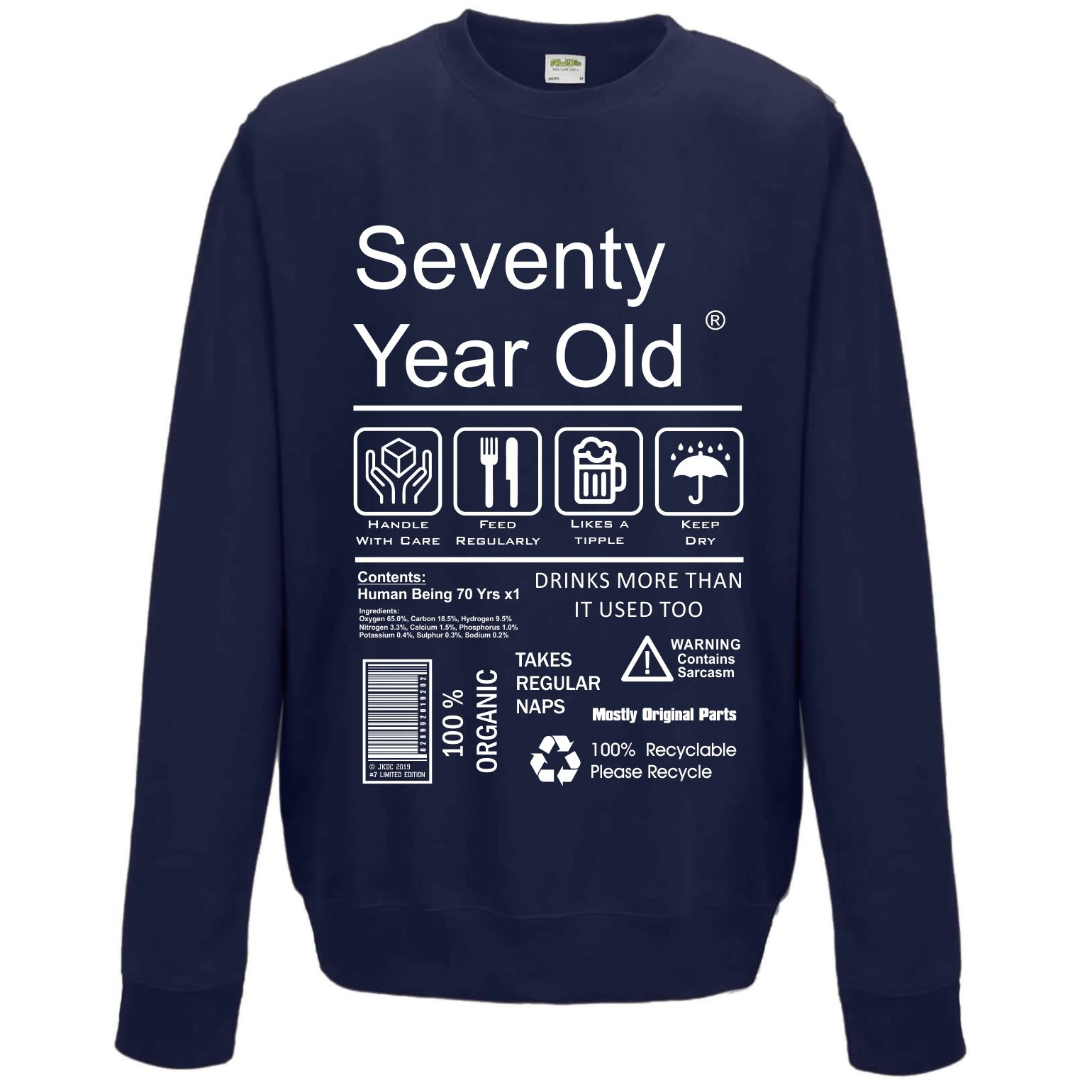 Funny 70 Year Old Package Care Label Instructions Motif 70th Birthday Gift Men S Sweatshirt Jumper