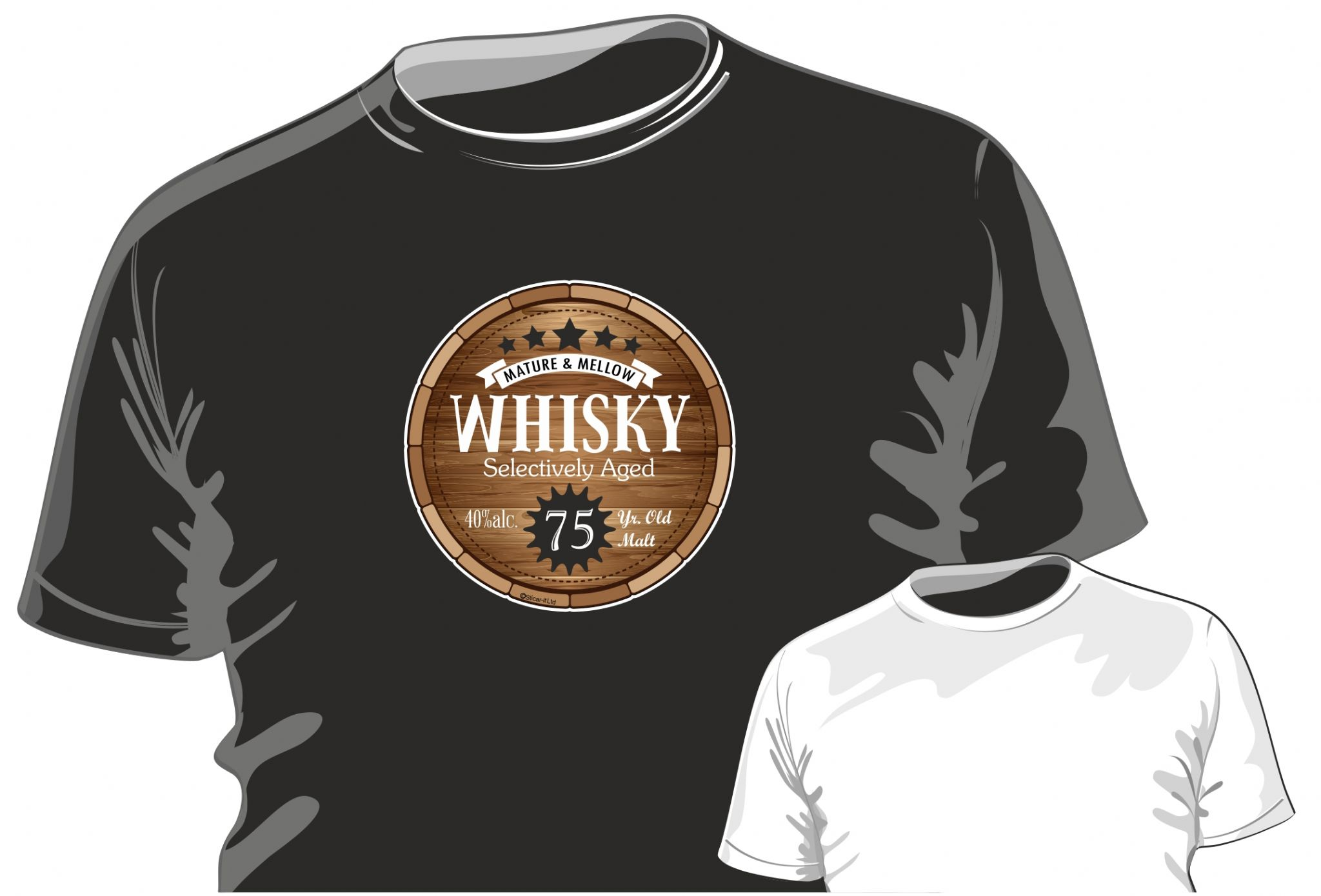 Regular Fit Twitter Instagram Funny 75 Year Old MALT WHISKY Barrel Motif For 75th Birthday Occasion Anniversary Gift Mens Or