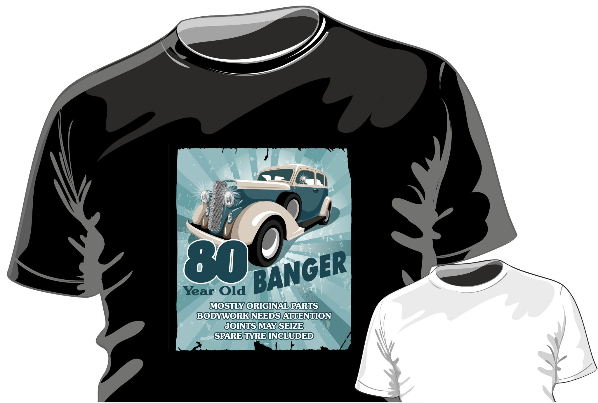 Funny 80 Year Old Banger Retro Car Motif For 80th Birthday Occasion Anniversary Gift Mens Or Ladyfit T Shirt 11757 P