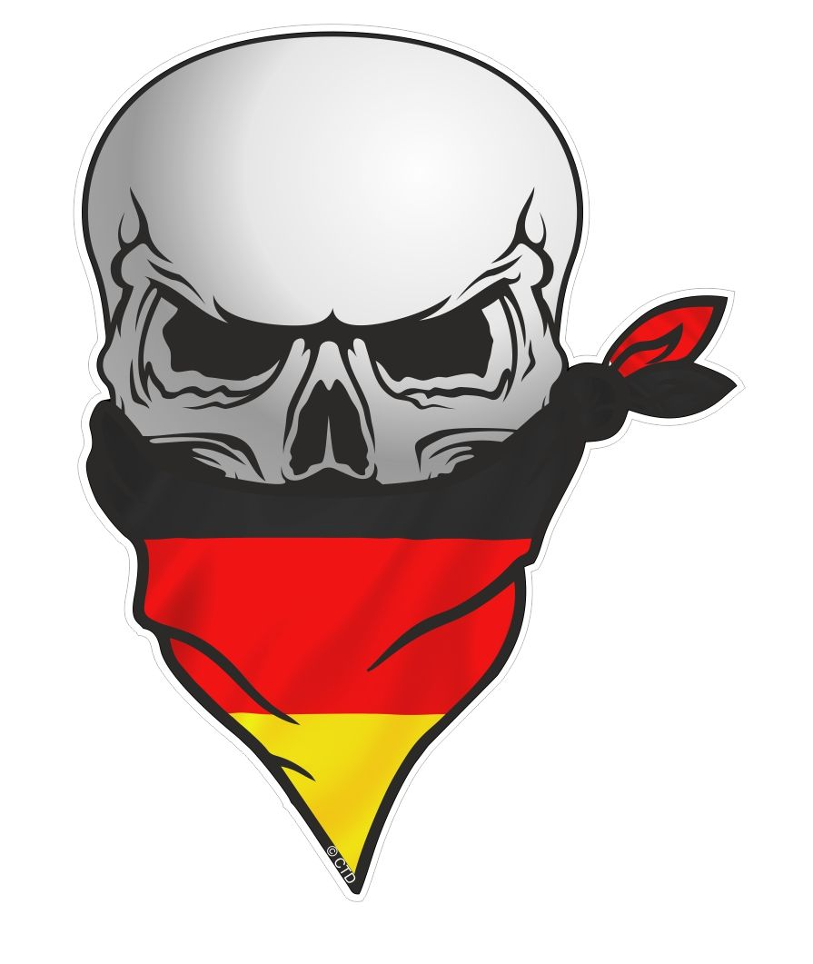 Gothic biker pirate skull with face bandana germany german flag motif external vinyl car sticker 110x75mm 18583 p jpg