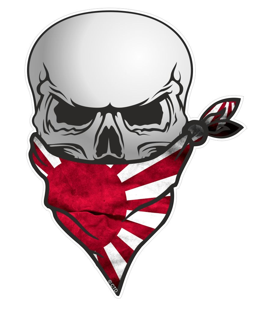 Muscle Car Decals >> GOTHIC BIKER Pirate SKULL With Face Bandana & JDM Style Japanese Rising Sun Flag Motif External ...