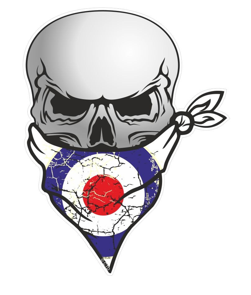 Muscle Car Decals >> GOTHIC BIKER Pirate SKULL With Face Bandana & MOD Style RAF Roundal Motif External Vinyl Car ...