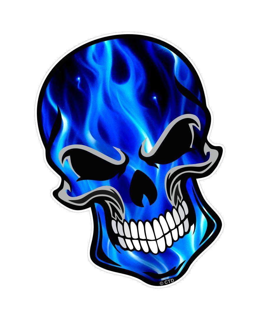 gothic biker skull with electric blue flames fire motif external