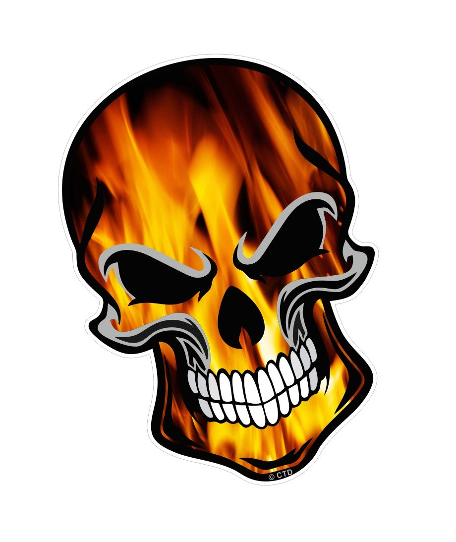 Gothic biker skull with orange tru fire flames motif external vinyl car sticker 110x75mm