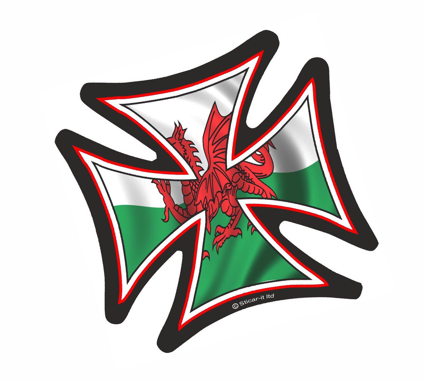 Iron Cross With Welsh Dragon Wales Cymru Flag Motif