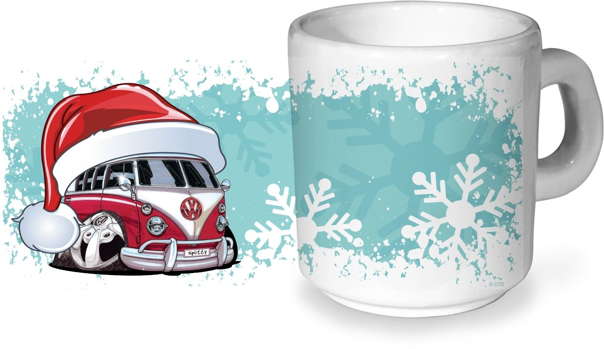Printed Sublimation Transfer Merry Christmas Vintage Camper Van Bus design