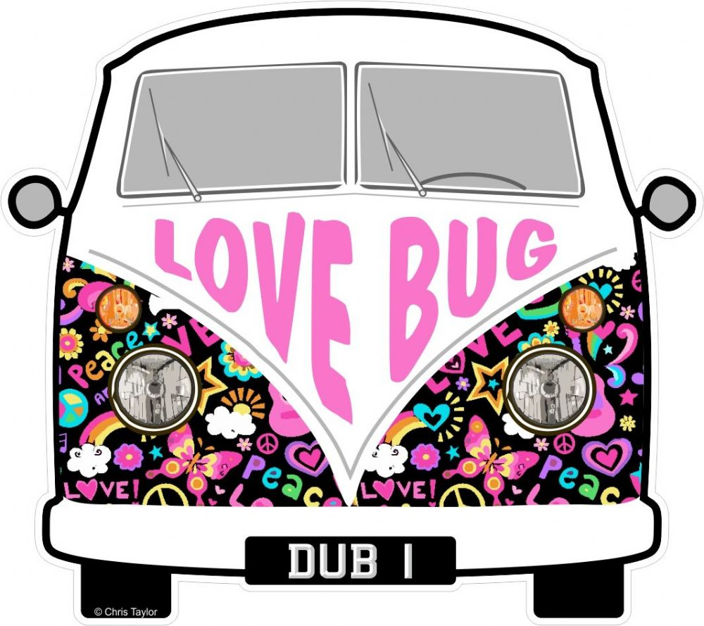 Love bug hippy slogan for retro split screen vw camper van bus design external vinyl car sticker 90x80mm