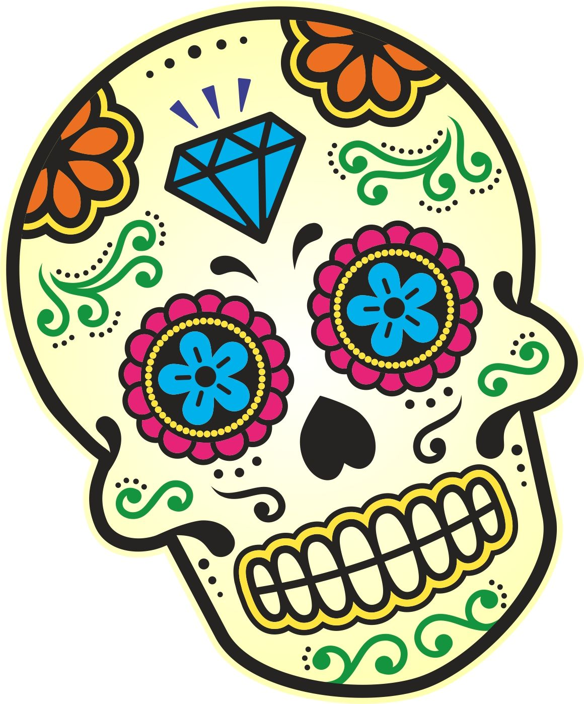 Muscle Car Decals >> Mexican Day Of The Dead SUGAR SKULL Multi Colour With Diamond Motif External Vinyl Car Sticker ...