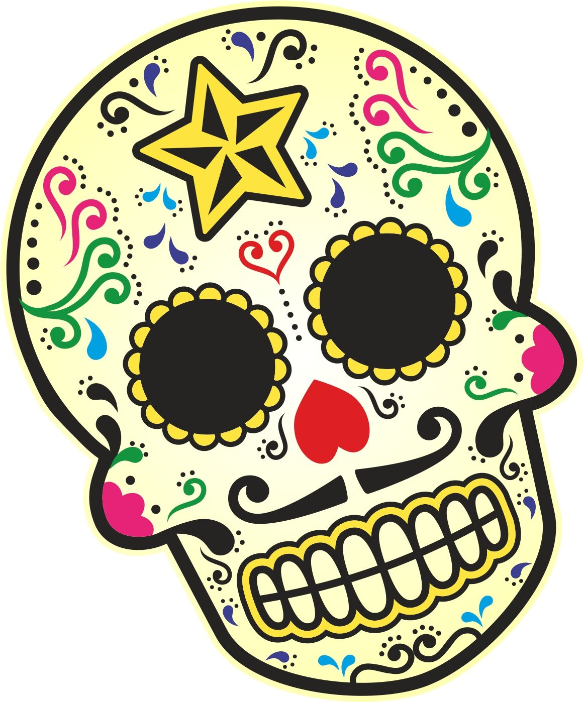 Mexican Day Of The Dead Sugar Skull Multi Colour With