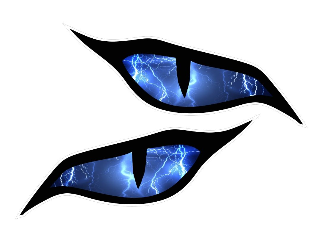 Pair Of Evil Eye Eyes With Lightning Bolts For Motorbike