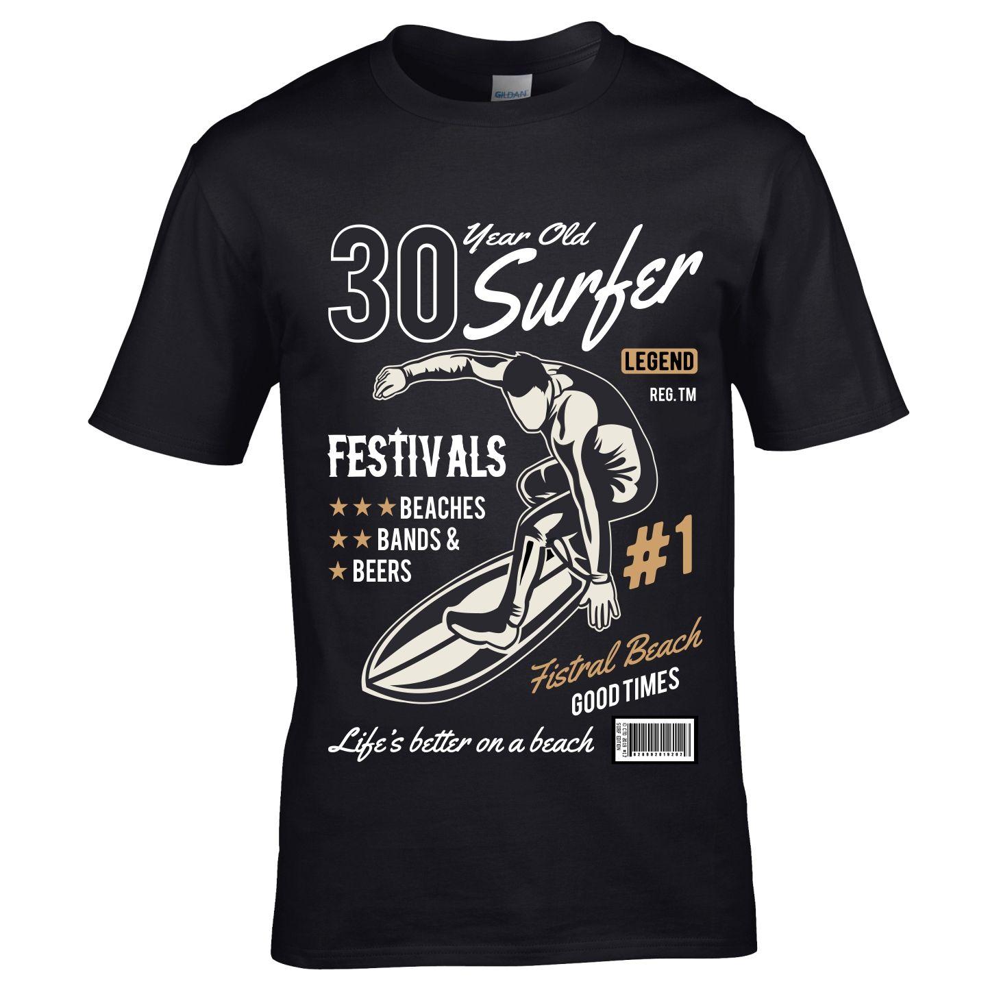 Premium 30 Year Old Surfer Beach Surfboard Motif For 30th Birthday Gift Mens Black T Shirt Top