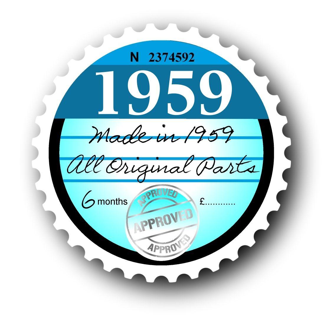 Retro 1959 tax disc replacement design for classic vintage car external vinyl car sticker 75x75mm 2720 p jpg