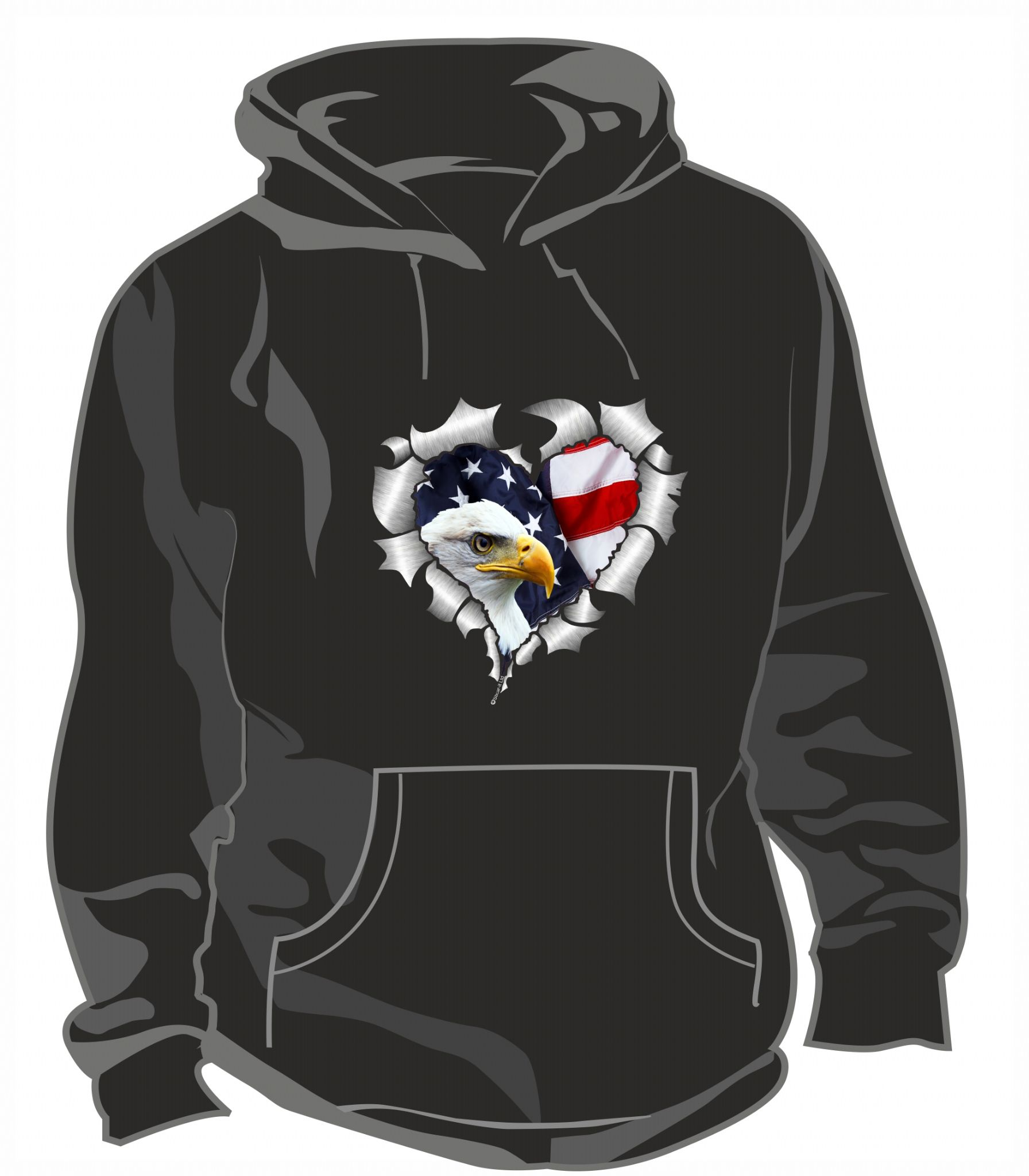 ceba71d7349 RIPPED METAL HEART Design With American Bald Eagle   US Flag ...