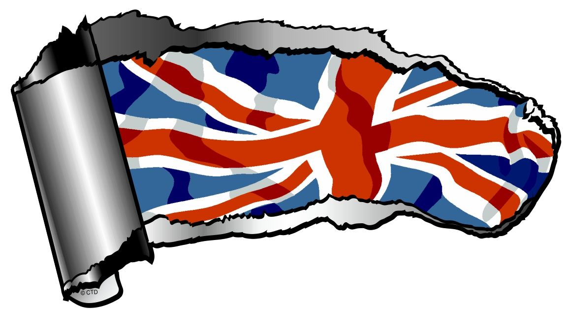 Ripped open gash torn metal design with union jack british flag motif external vinyl car sticker 140x75mm