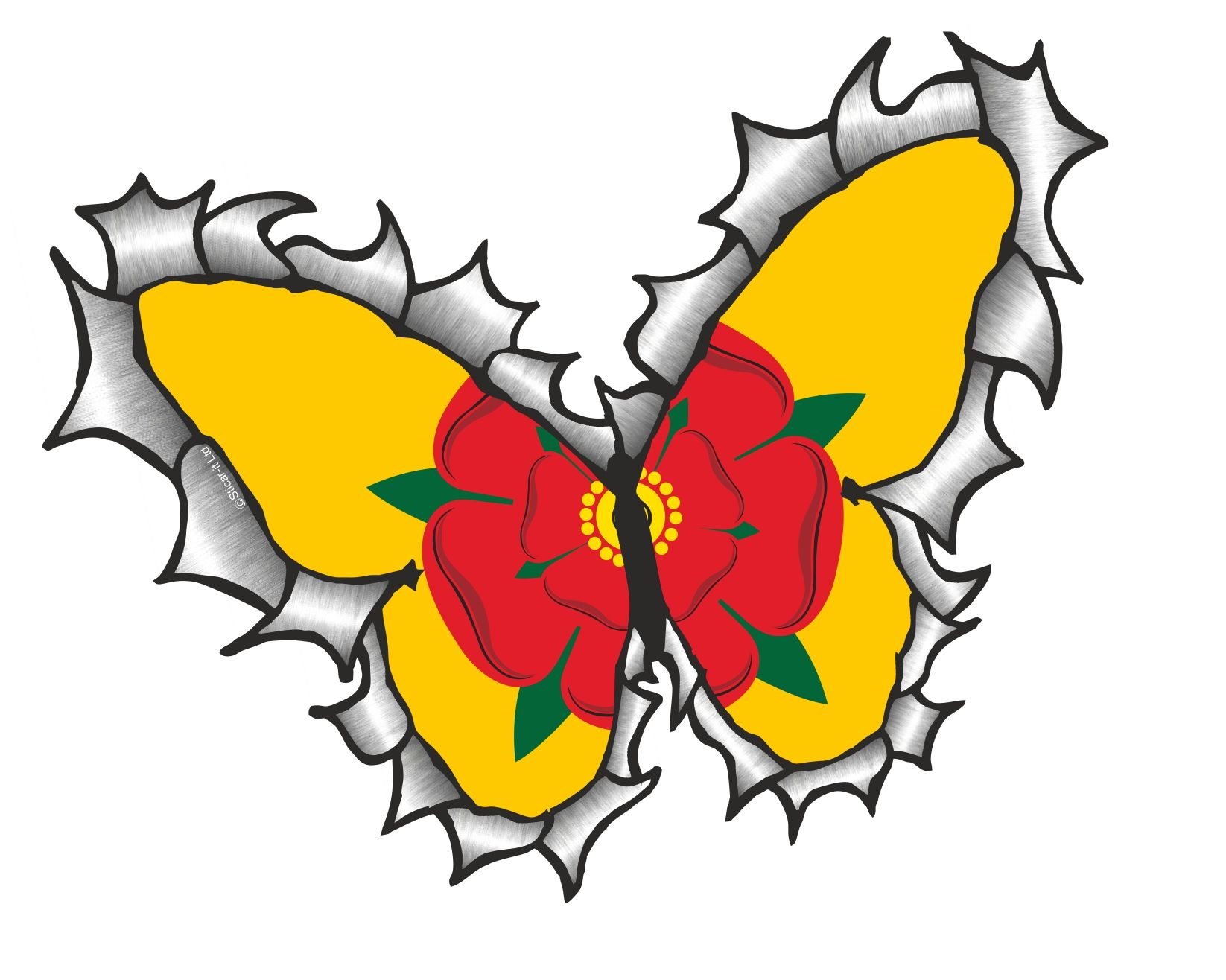 Ripped Torn Metal Butterfly Design With Lancashire Rose