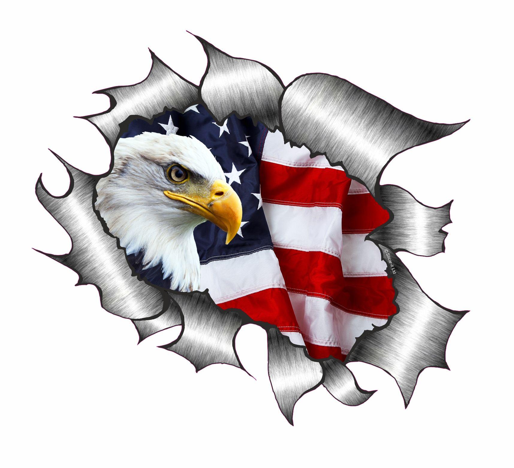 Ripped Torn Metal Design With American Bald Eagle & US Flag Motif External  Vinyl Car Sticker 105x130mm