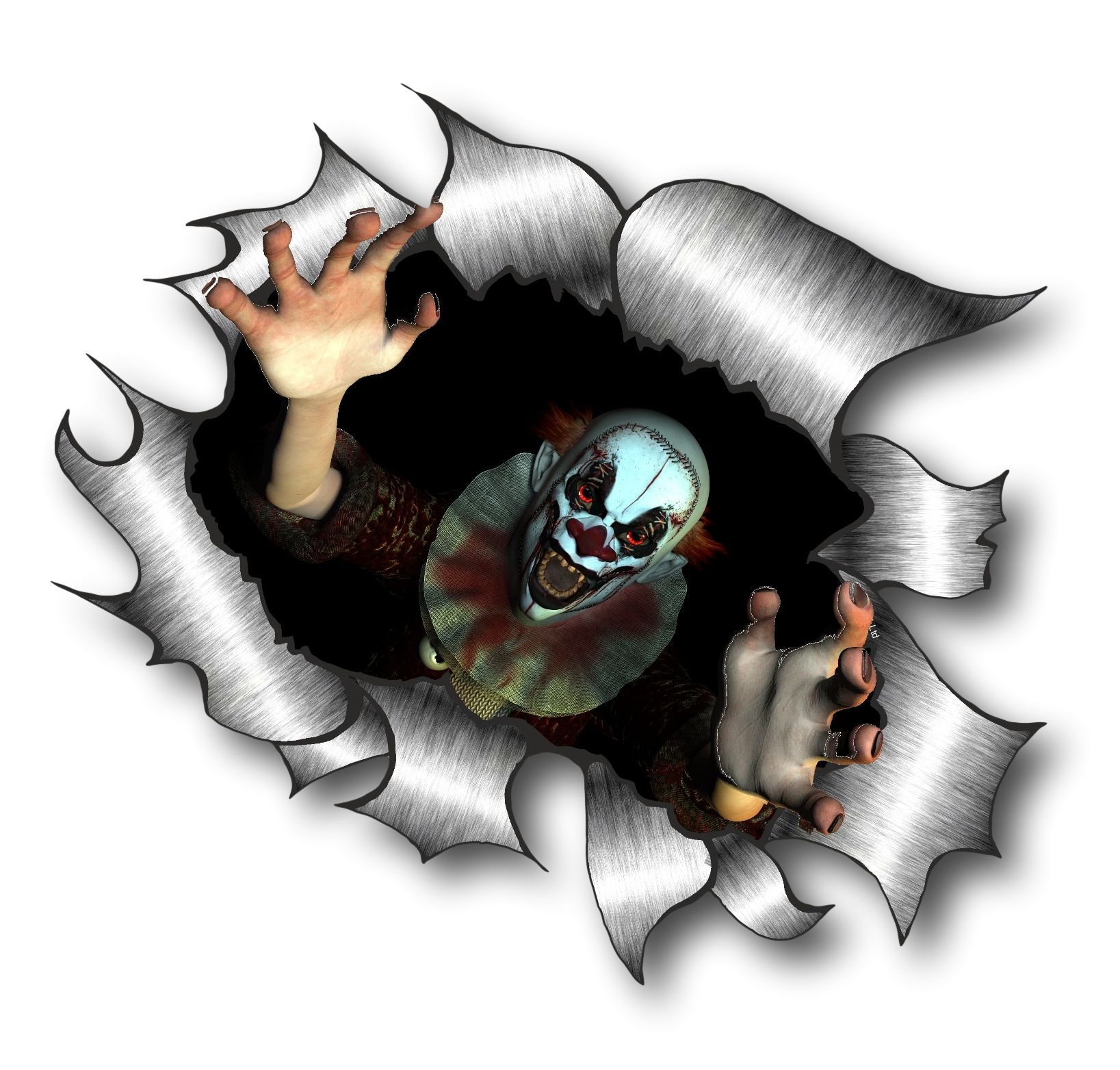 Small Wall Stickers Uk Ripped Torn Metal Design With Evil Horror Style Clown