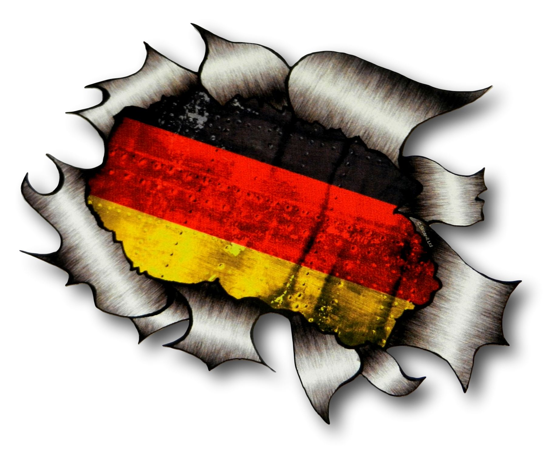 Ripped torn metal design with germany german flag gmotif external vinyl car sticker 105x130mm 2425 p jpeg